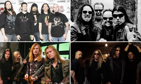 The Big Four (counterclockwise from the top left) - Anthrax, Metallica, Slayer, Megadeth
