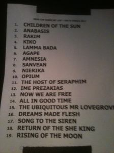 Dead Can Dance 8-19-2012 set list