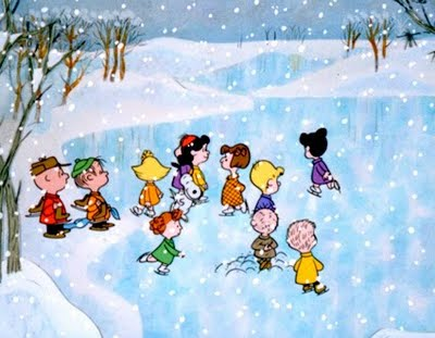 Charlie Brown at the frozen pond