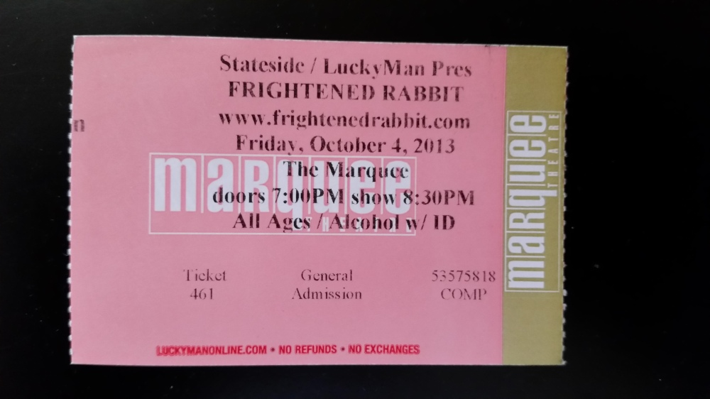 Frightened Rabbit concert ticket